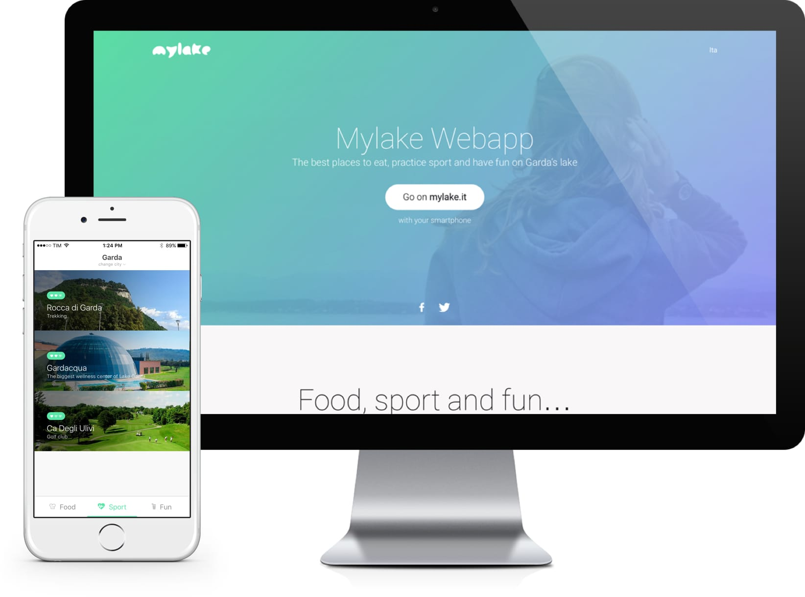 Mylake in iPhone and iMac display